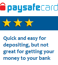 PaySafecard is good for deposits, but not for withdrawals
